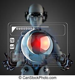 Cyborg,  manipulatihg, exhibición, holograma, mujer
