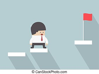 Businessman facing with the missing step to success, VECTOR,...