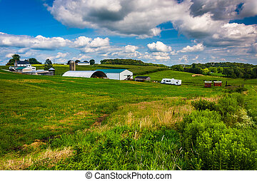 View of a farm in rural Baltimore County, Maryland.