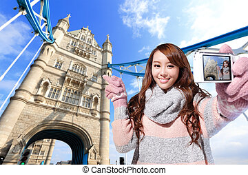 Happy woman travel in london - Happy woman tourist travel in...