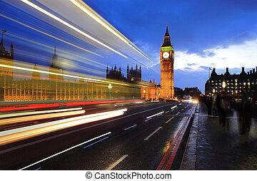 Big Ben London at night - Big Ben and London at night with...
