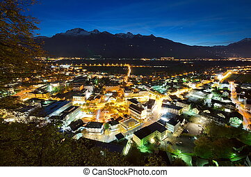 Nightscene of Vaduz in Liechtenstein at night