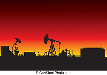 oil pumps silhouettes sunset