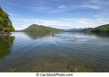 Canoeing in Kennedy Lake. Vancouver. British Columbia....