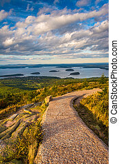 Walkway and view from Caddilac Mountain in Acadia National...
