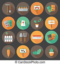 Gardening set flat icons over dark background