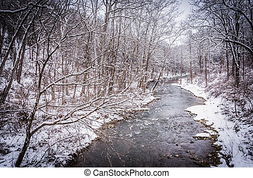 Winter view of Gunpowder Falls in rural Baltimore County, Maryla