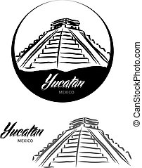 TOURISTIC LABEL Yucatan Mexico illustration