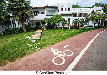 Bicycle route sign on a scenic route in Thailand