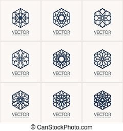 Vector ornamental symbols - Ornamental logo template set....