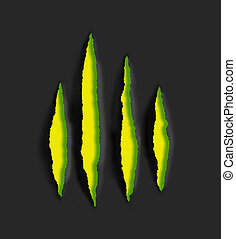 yellow claw scratch marks on black background - yellow claw...