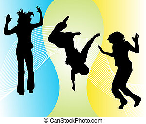 funny jumping teenager