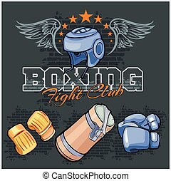Boxing labels and icons set Vector illustration - Boxing...