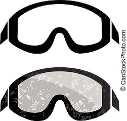 Snowboard ski goggles. Winter sports element isolated on...