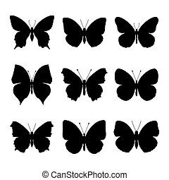 set: Butterfly silhouette