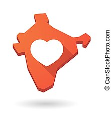 India map icon with a heart