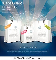 creative infographic template design with shopping bags...