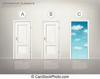 choice concept infographic template design with doors...
