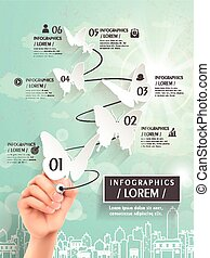 elegant infographic template design with paper butterflies...