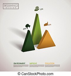 financial infographic template design with triangle element