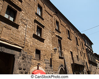 Orvieto-Italy - The facade of old house in Orvieto