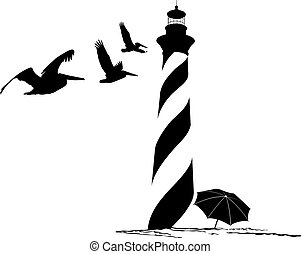 Lighthouse with Pelicans - Silhouette of the beach,...