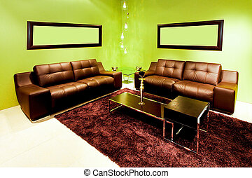 Domestic room 2 - Contemporary living room with leather...