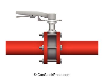 Valve - Illustration of valve and steel pipe, red color.