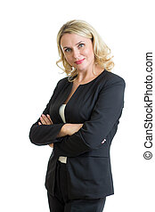 Smiling businesswoman. Isolated over white background