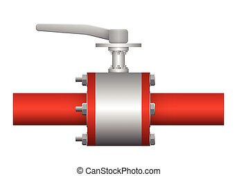 Valve - Illustration of valve and steel pipe, red color