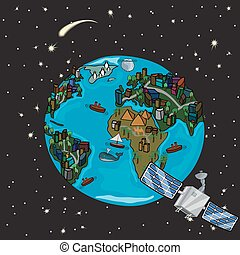 Planet with satellite and stars in space