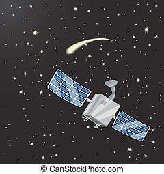 Satellite in space among the stars