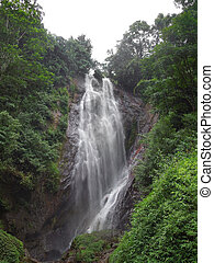 waterfall in Sri Lanka - overgrown jungle scenery including...