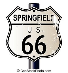 Springfield Route 66 Sign - Springfield Route 66 traffic...