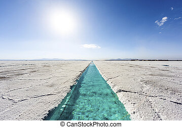 Water pool on Salinas Grandes Jujuy, Argentina - Salt water...