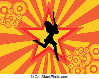 disco girl - vector illustration of a woman silhouette on a...