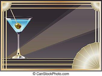 Art Deco inspired background design with frame, banner...