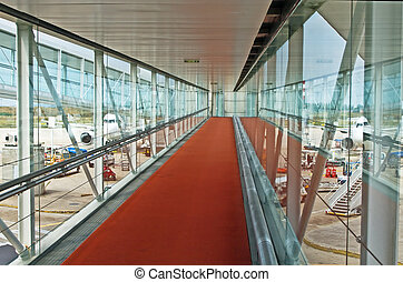 Interrior of the modern airport (Charles de Gaulle airport,...