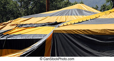 Fumigation Tent - Black and yellow termite fumigation tent...