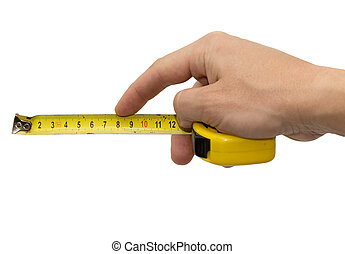Hand with measuring tool - completely isolated on white