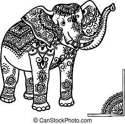 elephant and mehendi ornament - Elephant with a traditional...