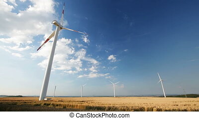Slow Wind Turbines Timelapse - Timelapse sequence of slowly...