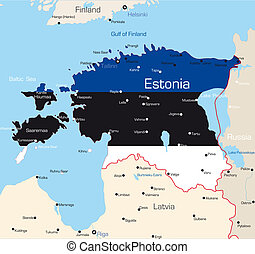 Estonia - Abstract color map of Estonia country coloured by...
