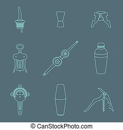 outline icons barman instruments se - vector outline barman...