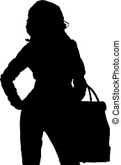 Shopping posing girl silhouette