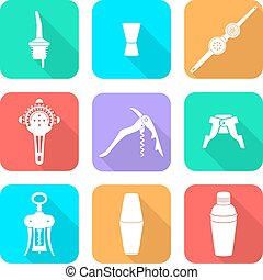 flat style white icons barman instr - vector white flat...