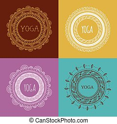 Bohemian Mandala and Yoga background with round ornament...