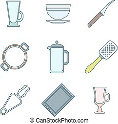 various color outline dinnerware ic - vector colored outline...