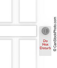 3d Render Do Not Disturb Sign on a Door