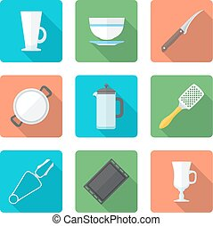 various flat style dinnerware icons - vector colored falt...